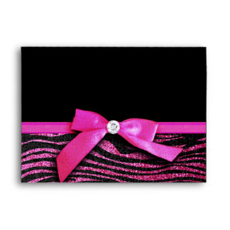 Hot pink zebra and ribbon bow graphic envelope