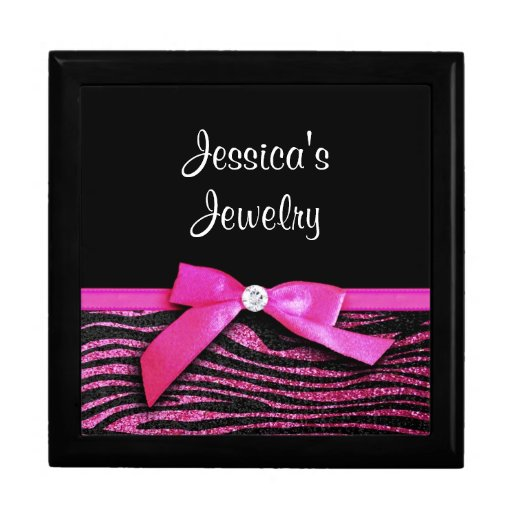 Hot pink zebra and ribbon bow graphic gift boxes