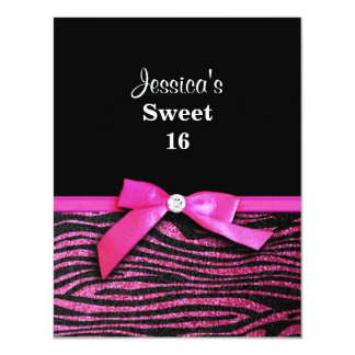 Hot pink zebra and ribbon bow graphic 4.25x5.5 paper invitation card