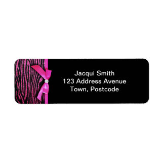 Hot pink zebra and ribbon bow graphic label