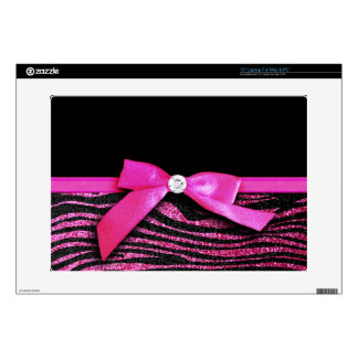 Hot pink zebra and ribbon bow graphic laptop skins