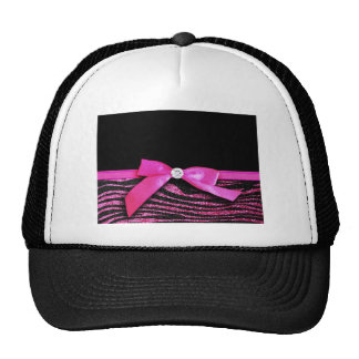 Hot pink zebra and ribbon bow graphic mesh hat