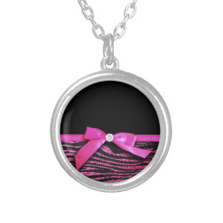 Hot pink zebra and ribbon bow graphic pendants