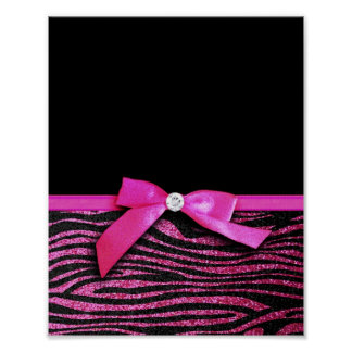 Hot pink zebra and ribbon bow graphic poster