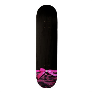 Hot pink zebra and ribbon bow graphic skate boards