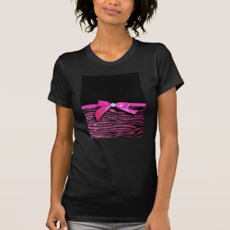 Hot pink zebra and ribbon bow graphic t shirt