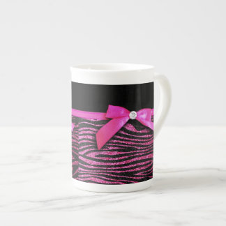Hot pink zebra and ribbon bow graphic tea cup