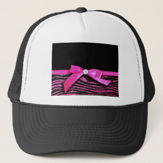 Hot pink zebra and ribbon bow graphic trucker hat