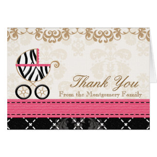 Hot Pink Zebra Baby Carriage Shower Thank You Card