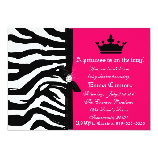 Hot pink zebra baby shower card zazzle for Pink and zebra bathroom ideas