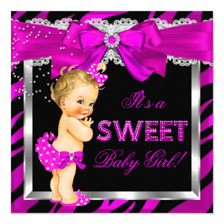 Hot Pink Zebra Baby Shower Girl Blonde Baby Card