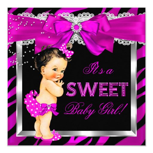 Hot pink zebra baby shower girl brunette baby card zazzle for Pink and zebra bathroom ideas