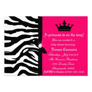 Hot Pink Zebra Baby Shower Announcement