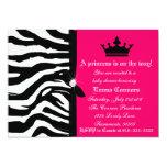 Hot Pink Zebra Baby Shower 5x7 Paper Invitation Card