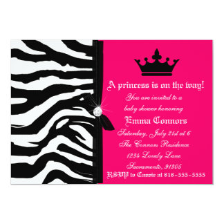 Hot Pink Zebra Baby Shower 5x7 Paper Invitation Card
