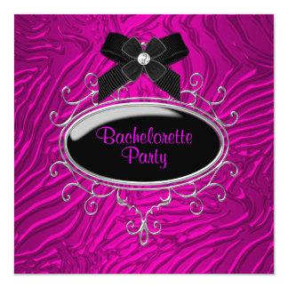 Hot Pink Zebra Bachelorette Party 5.25x5.25 Square Paper Invitation Card