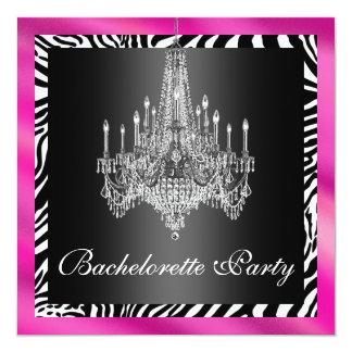 Hot Pink Zebra Bachelorette Party Invitation