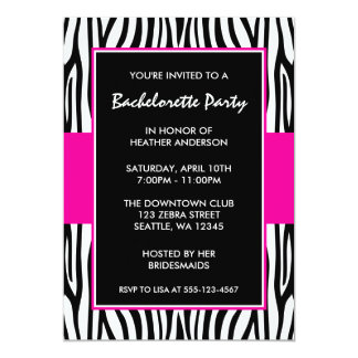 Hot Pink Zebra Bachelorette Party Invitations
