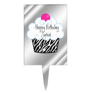 Hot Pink Zebra Birthday Cake Topper
