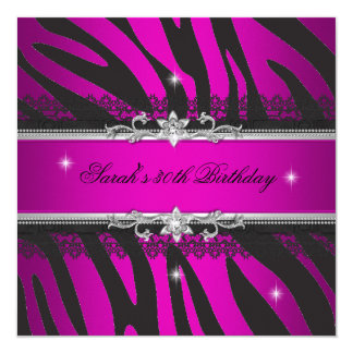 Hot Pink Zebra Black Silver 30th Birthday Party 5.25x5.25 Square Paper Invitation Card