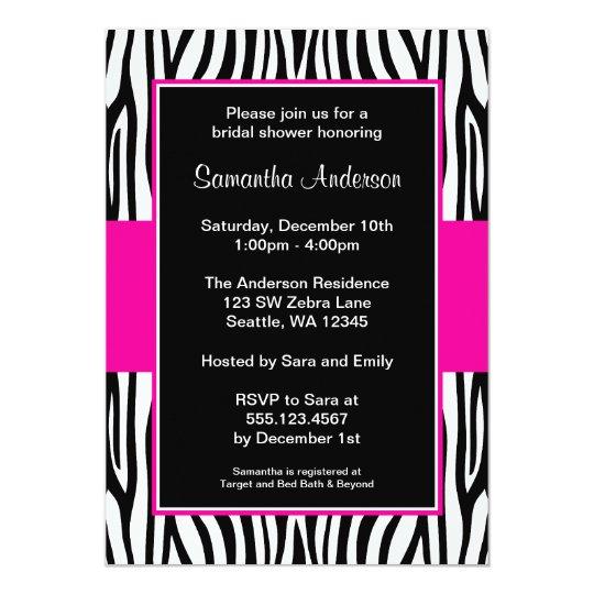 Hot Pink Zebra Bridal Shower Card