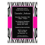 Hot Pink Zebra Bridal Shower Custom Invite