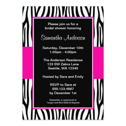 Hot Pink Zebra Bridal Shower 5x7 Paper Invitation Card