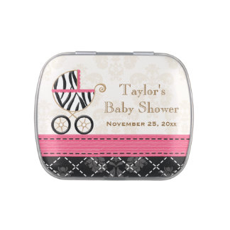 Hot Pink Zebra Carriage Baby Shower Favor Jelly Belly Tins