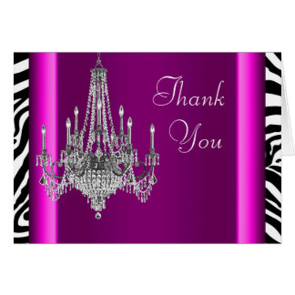 Hot Pink Zebra Chandelier Thank You Cards