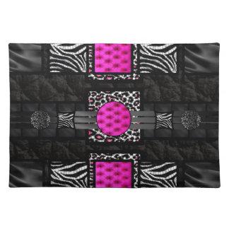 Hot Pink Zebra Cheetah Bling Cloth Place Mat