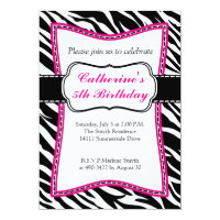 Hot Pink Zebra Child's Birthday Invitation. Invitation