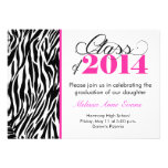 Hot Pink Zebra Class of 2014 Graduation Invitation