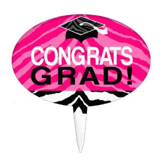 Hot Pink Zebra Congrats Girl's Graduation Party Cake Topper