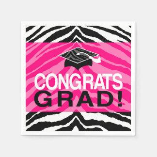 Hot Pink Zebra Congrats Girl's Graduation Party Napkin