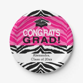 Hot Pink Zebra Congrats Girl's Graduation Party Paper Plate