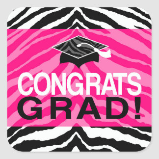Hot Pink Zebra Congrats Girl's Graduation Party Square Sticker