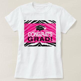 Hot Pink Zebra Congrats Girl's Graduation Party T-Shirt