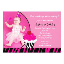 Hot Pink Zebra Cupcake Photo Birthday Invitations