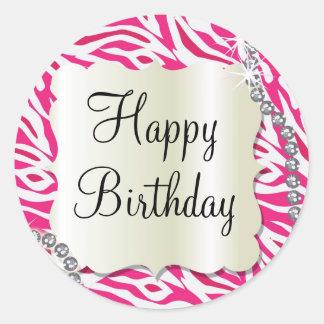Hot pink zebra diamond bling sweet 16 sticker