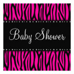 Hot Pink Zebra Diamonds Baby Shower Personalized Invites