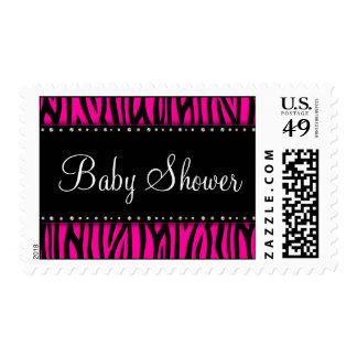 Hot Pink Zebra Diamonds Baby Shower Stamps