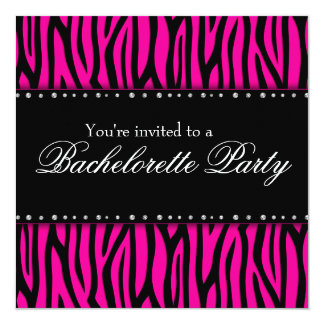 Hot Pink Zebra Diamonds Bachelorette Party Card