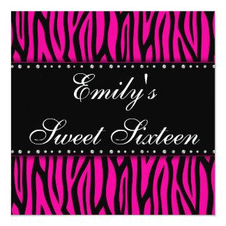 Hot Pink Zebra Diamonds Sweet 16 Birthday Card
