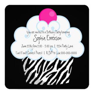 Hot Pink Zebra Girls Cupcake Birthday Party Card