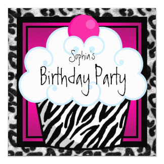 Hot Pink Zebra Girls Cupcake Birthday Party Card