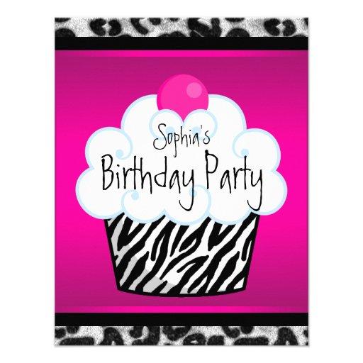 Hot Pink Zebra Girls Cupcake Birthday Party Invite