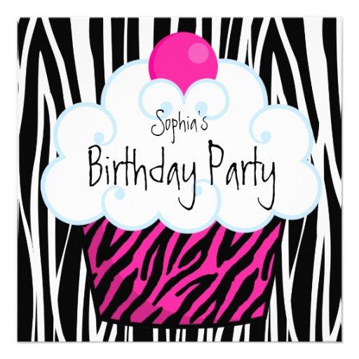 Hot Pink Zebra Girls Cupcake Birthday Party Announcements