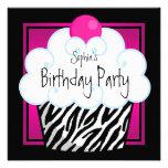 Hot Pink Zebra Girls Cupcake Birthday Party Custom Announcements