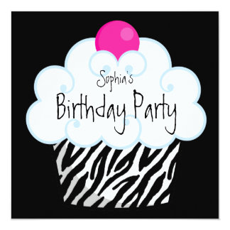 Hot Pink Zebra Girls Cupcake Birthday Party Personalized Announcement