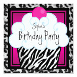 Hot Pink Zebra Girls Cupcake Birthday Party Announcement